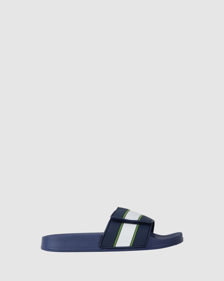 Shoes and Sox Kannon Adjust Slide Navy/Green/White