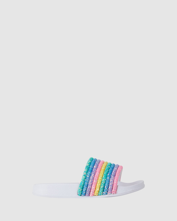 Shoes and Sox Kenna Rainbow Slide White Multi
