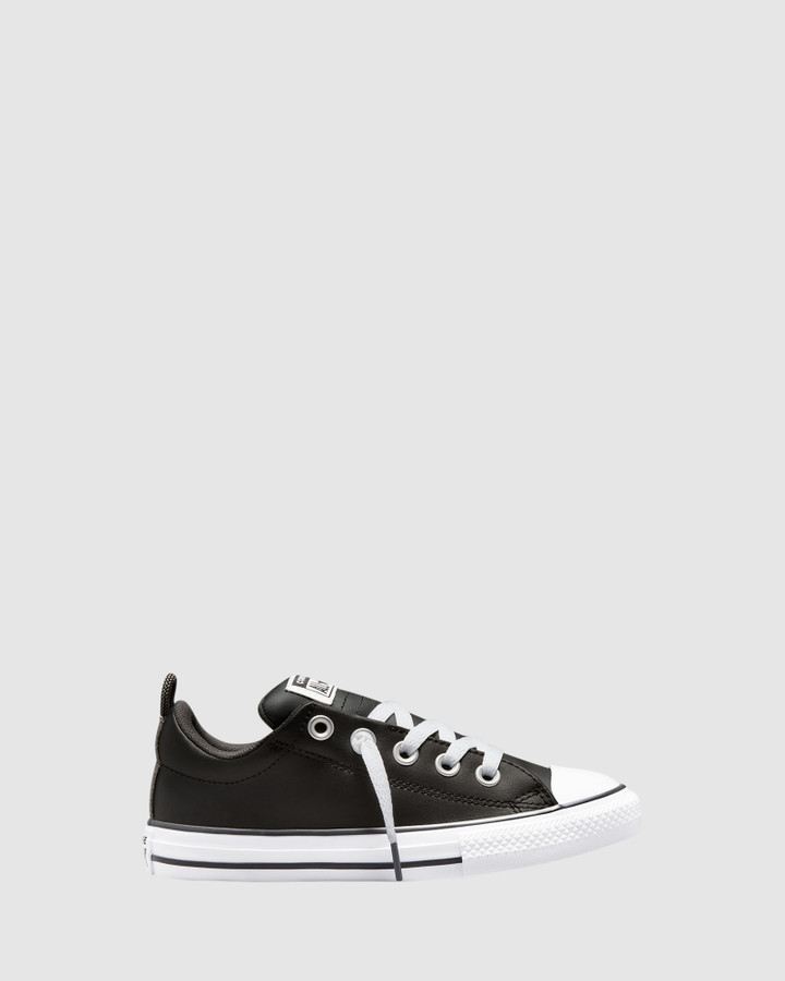 Shoes and Sox Ct As Street Leather Yth B Black/White