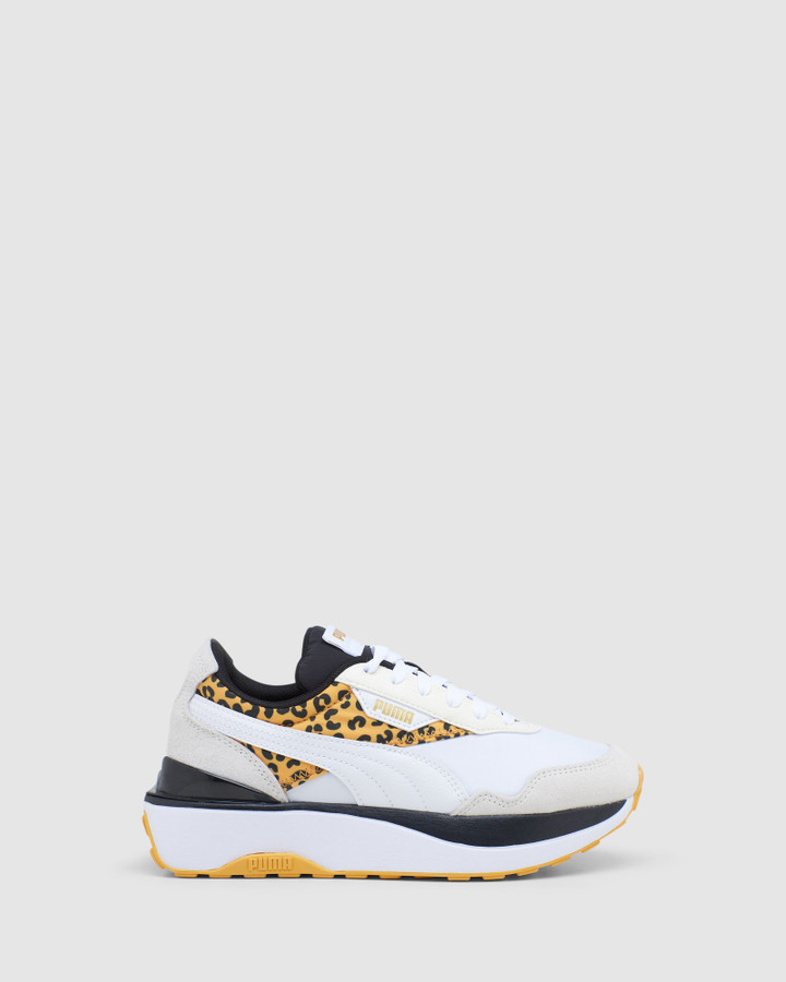 Shoes and Sox Cruise Rider Roar Gs G White/Leopard