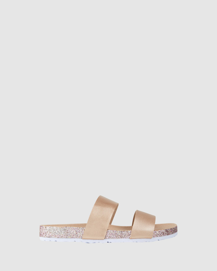 Shoes and Sox Avery Sparkle Slide Rose Gold