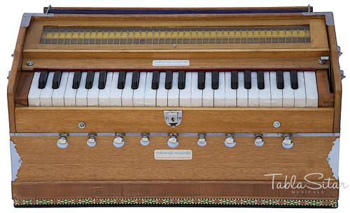 MAHARAJA MUSICALS Harmonium No. 127 - 9 Stopper, A440, 42 keys, Natural Color, With Coupler