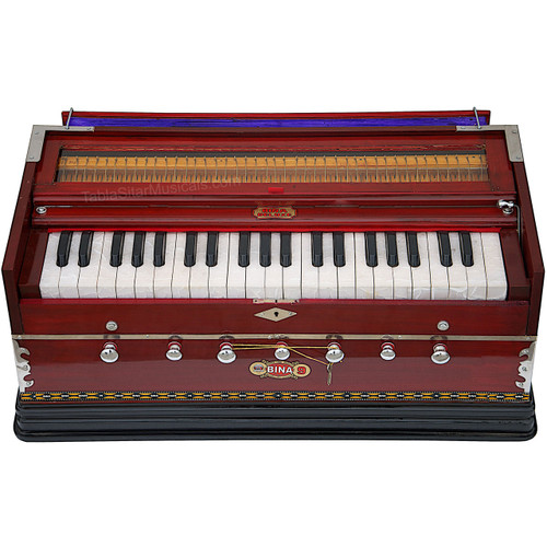 BINA No. 9A Harmonium, 2 Reeds, 3.5 Octaves, 7 Stops, Coupler, Multifold Bellow, Rosewood Color - 232