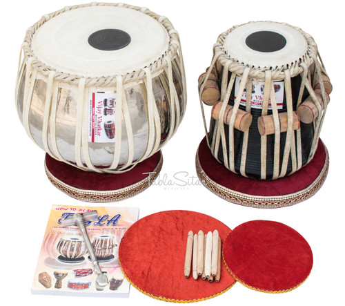 Buy Vhatkar Chromed Brass Tabla Set 4kg, Sheesham Dayan
