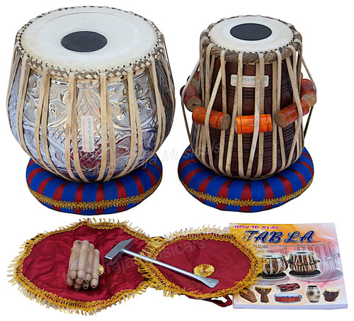 MAHARAJA MUSICALS Floral Chrome Tabla Set, 3 Kg Copper Bayan, Sheesham Dayan - No. 251