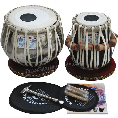 Haridas Vhatkar Tabla Set, 3.5 Kg Chromed Copper Bayan, Black Sheesham Dayan - No. 538