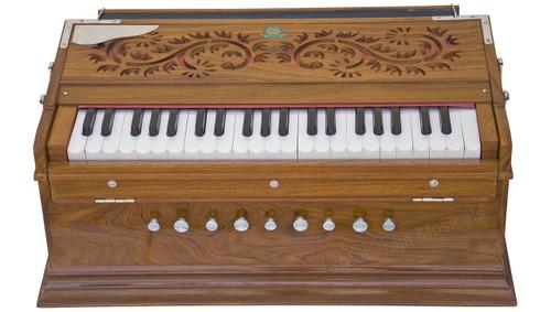 Monoj Sardar MKS Harmonium No. 573, Teak Wood, 3 Reeds, A440, 9 Stop, 42 Keys, Concert Quality