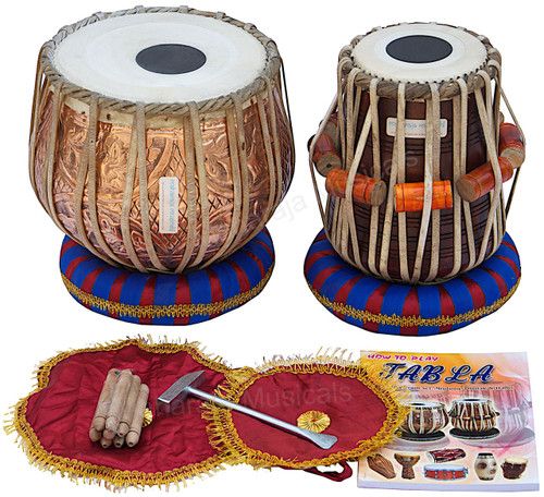 MAHARAJA MUSICALS Floral Design Tabla Set, 3 Kg Copper Bayan, Sheesham Dayan - No. 52