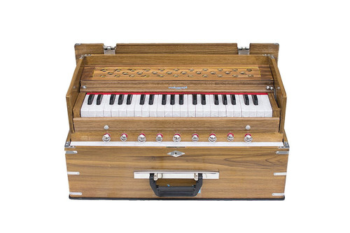 MAHARAJA MUSICALS Harmonium No. KH1 - Kirtan  Folding, Classic, Natural Color,  A440, 42 Keys, Multi-fold Bellow, Well-tuned With Coupler