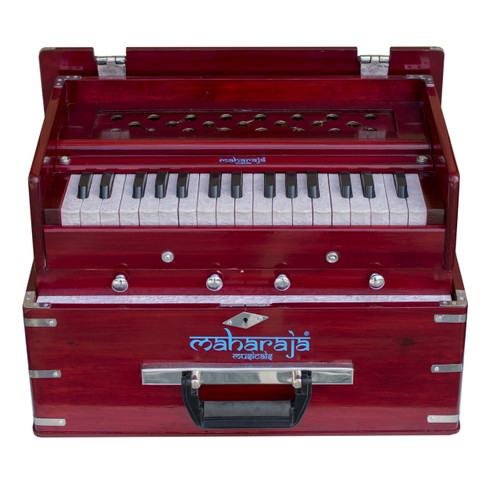 MAHARAJA MUSICALS Harmonium No. KH3 - Kirtan  Folding, Portable In-Flight Edition, Rosewood Color,  A440, 32 Keys, Multi-fold Bellow, Well-tuned With Coupler