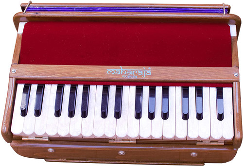 MAHARAJA MUSICALS Harmonium No. 667 - Hari Naam  Folding, Portable In-Flight Edition, Natural Color,  A440, 32 Keys, Multi-fold Bellow, Well-tuned