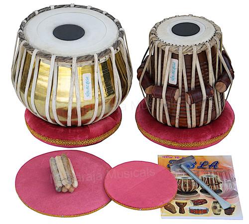 MAHARAJA MUSICALS Golden Tabla Set, 3 Kg Brass Bayan, Sheesham Dayan - Tabla No. 38