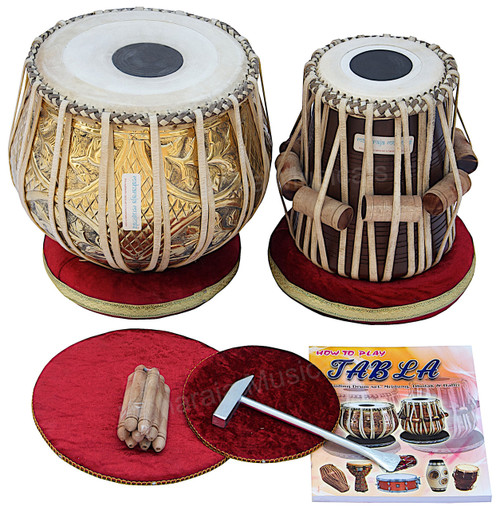 MAHARAJA MUSICALS Pro Floral Tabla Set, 3.5 Kg Brass Bayan, Sheesham Dayan - No. 67