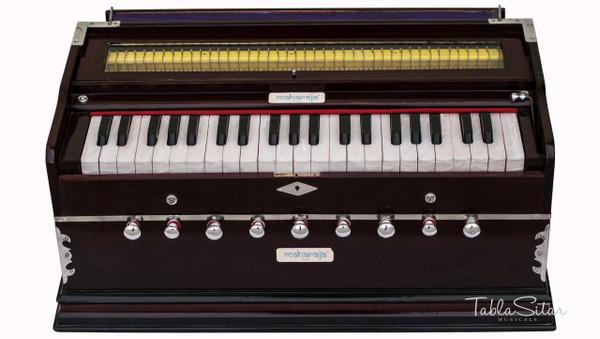 MAHARAJA MUSICALS Harmonium No. 43 - A440, 42 Keys, 9 Stop, Kail Wood, 3.25 Octaves, Coupler, Multi-fold Bellow, Dark Mahogany