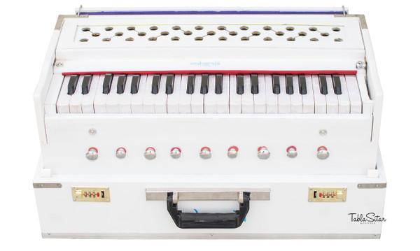 MAHARAJA MUSICALS Harmonium No. 187 - Folding, White, Safri, A440, 42 Keys, Multi-fold Bellow, Well-tuned With Coupler