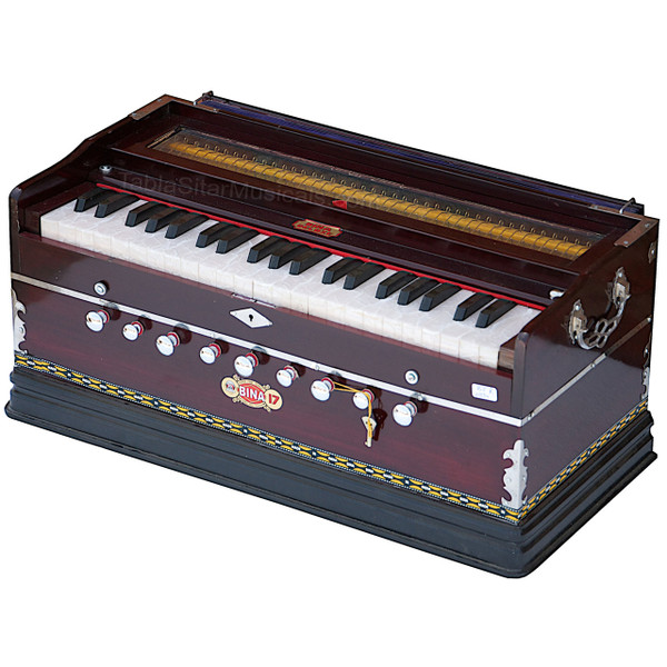 BINA Harmonium No. 17 B, 2 Reeds, 3.5 Octaves, 9 stops, Coupler, Multifold Bellows, Rosewood Color - 197