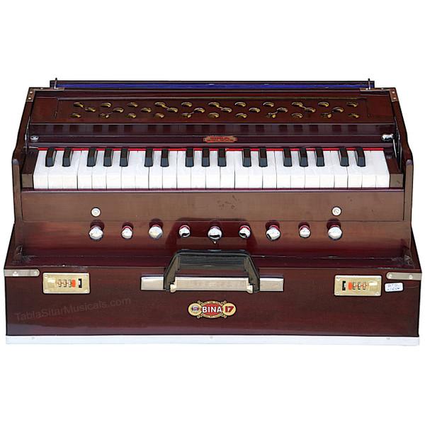 BINA No. 17 Deluxe Portable Harmonium, Dark Mahogany, 2 Reeds, 3.5 Octaves, Coupler - 177