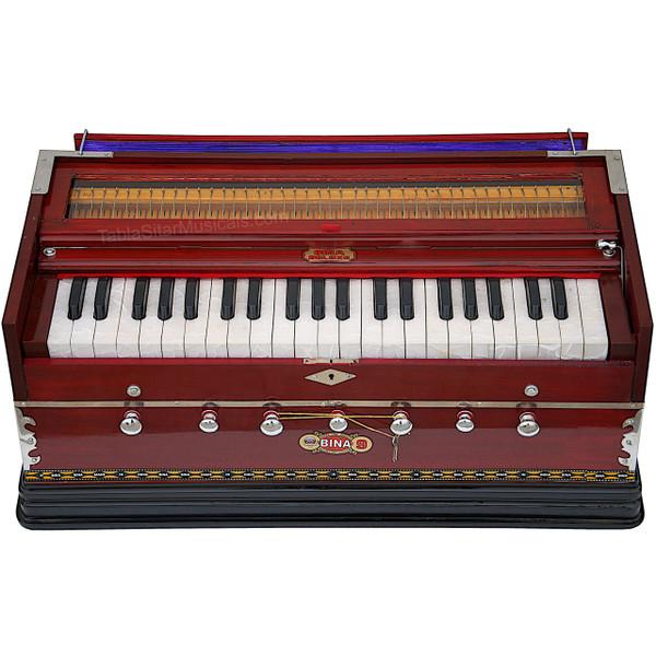 BINA No. 9A Harmonium, 2 Reeds, 3.5 Octaves, 7 Stops, Coupler, Multifold Bellow, Rosewood Color - 232