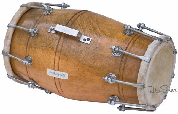 MAHARAJA MUSICALS Mango Wood Dholak/Dholki, Bolt Tuned, Bag - No. 104