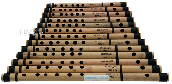 MAHARAJA MUSICALS 13 pc Bansuri Set, Bamboo Indian Flutes - No. 140