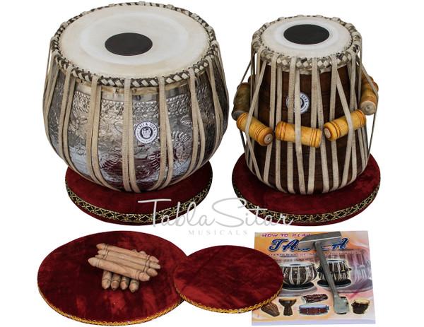 Ganesha Design Chrome Brass Tabla Drum set 3.5kg