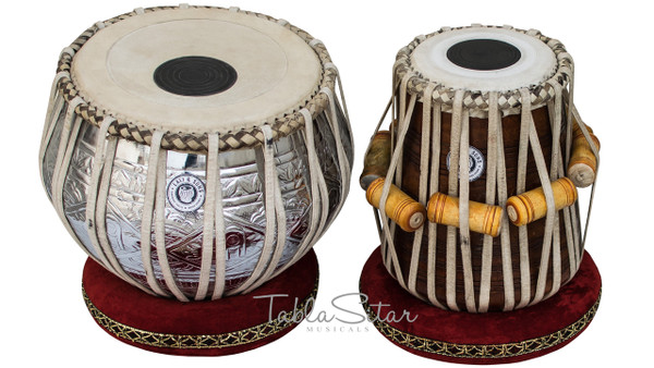 MAHARAJA MUSICALS Pro Designer Tabla Set, 3.5 Kg Brass Bayan, Sheesham Dayan - No. 281