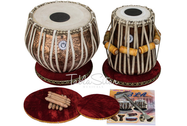 MAHARAJA MUSICALS Concert Ganesha Tabla Set, 4 Kg Copper Bayan, Finest Dayan - No. 304
