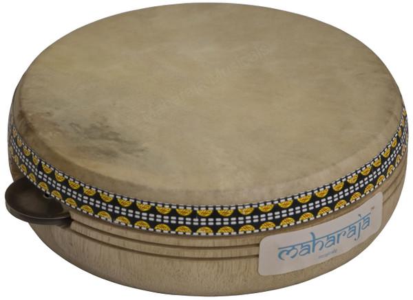 MAHARAJA MUSICALS Kanjira, Wooden Frame 7-inch dia., Goat Skin Head, Brass Jingle - No. 441