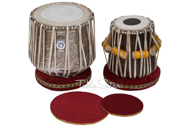 MAHARAJA MUSICALS Brass Dhama Jori, Floral Brass Dhama, Sheesham Wood Dayan - Tabla No. 527
