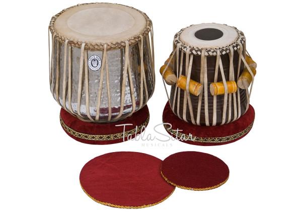 MAHARAJA MUSICALS Classic Brass Dhama Set, Brass Dhama, Sheesham Wood Dayan - Tabla No. 528