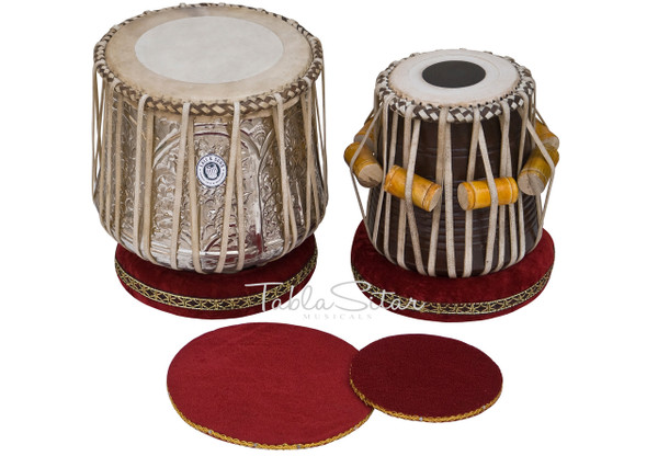 Brass Dhama Set, Dhama, Sheesham Wood