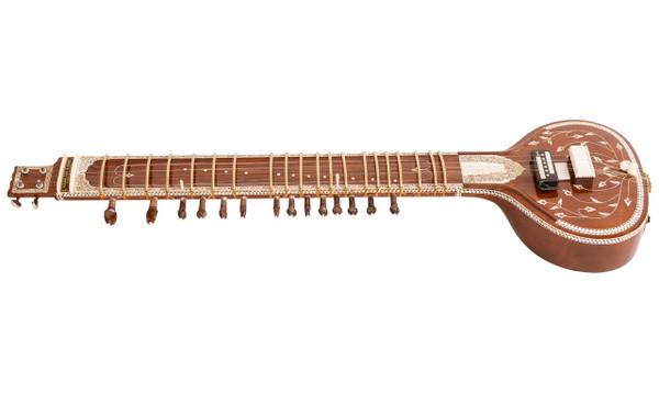 Kanai Lal & Sons Electric Sitar, Tun Wood, Dark Color with Fiber Case - No. 561