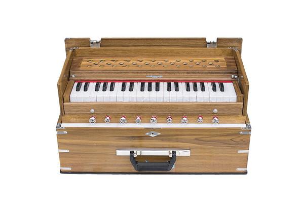 MAHARAJA MUSICALS Harmonium No. KH1 - Kirtan  Folding, Classic, Natural Color,  A440, 42 Keys, Multi-fold Bellow, Well-tuned With Coupler