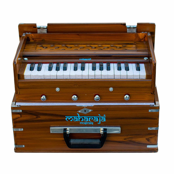 MAHARAJA MUSICALS Harmonium No. KH2 - Kirtan  Folding, Portable In-Flight Edition, Natural Color,  A440, 32 Keys, Multi-fold Bellow, Well-tuned