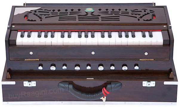 Monoj Sardar MKS Harmonium No. 652, Teak Wood, Folding, 3 Reeds, A440, 42 Keys, Concert Quality