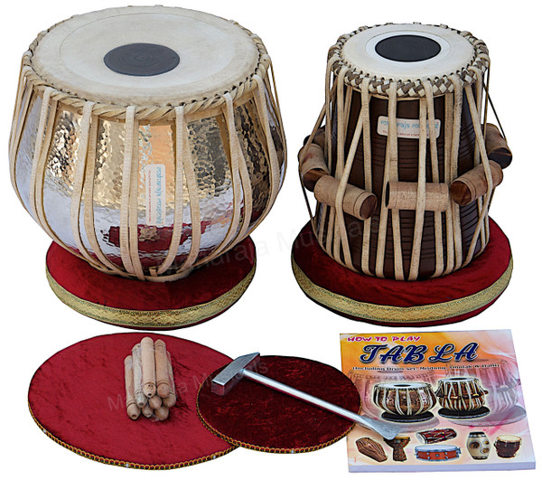 MAHARAJA MUSICALS Concert Extra Heavy Tabla Set, 5.5 Kg Copper Bayan, Finest Dayan - No.114