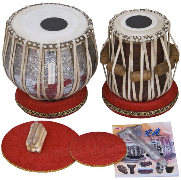 MAHARAJA MUSICALS Concert Ganesha Kalash Tabla Set, 4.5 Kg Copper Bayan, Finest Dayan - No.49