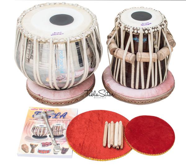 MAHARAJA MUSICALS Classic Tabla Set, 3 Kg Brass Bayan, Sheesham Dayan - Tabla No. 37