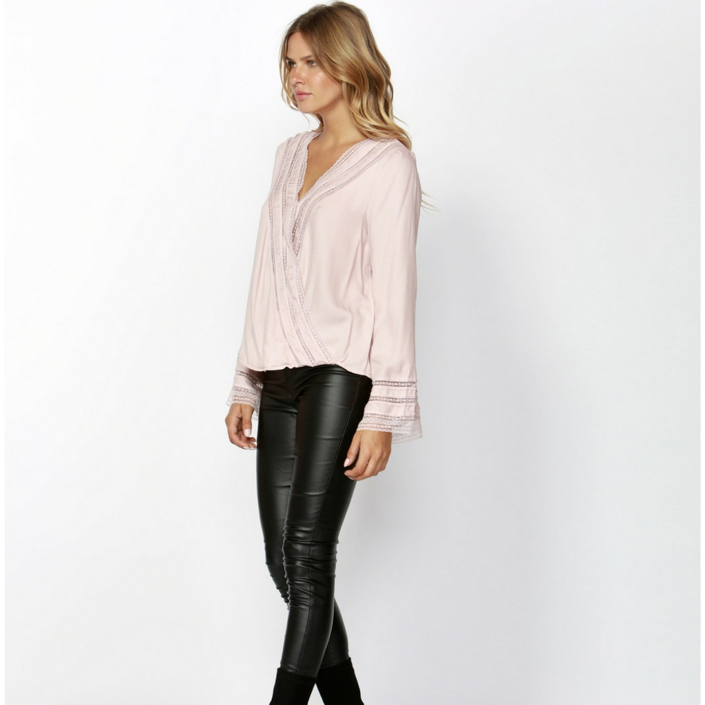 a16226e7865 Dahlia Lace Trim Blouse in Pink by SASS