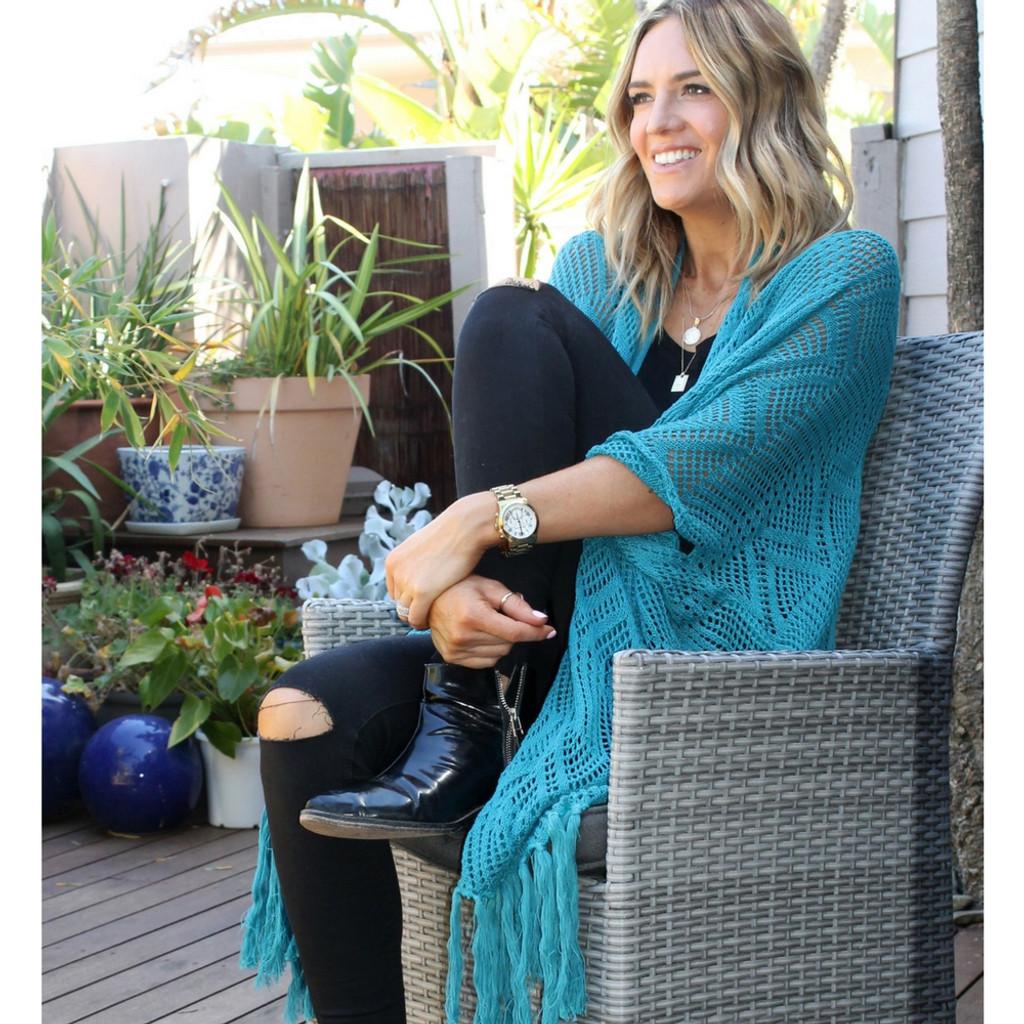 Ladies Jackets | Stardust Crochet Kimono in Turquoise | BIJOU