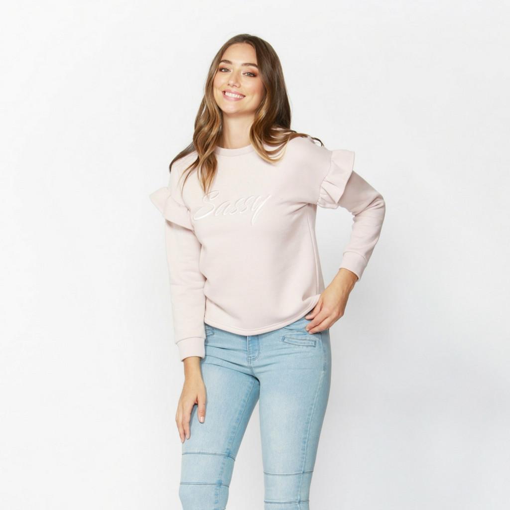 Ladies Tops | Sassy Frill Sweater | SASS