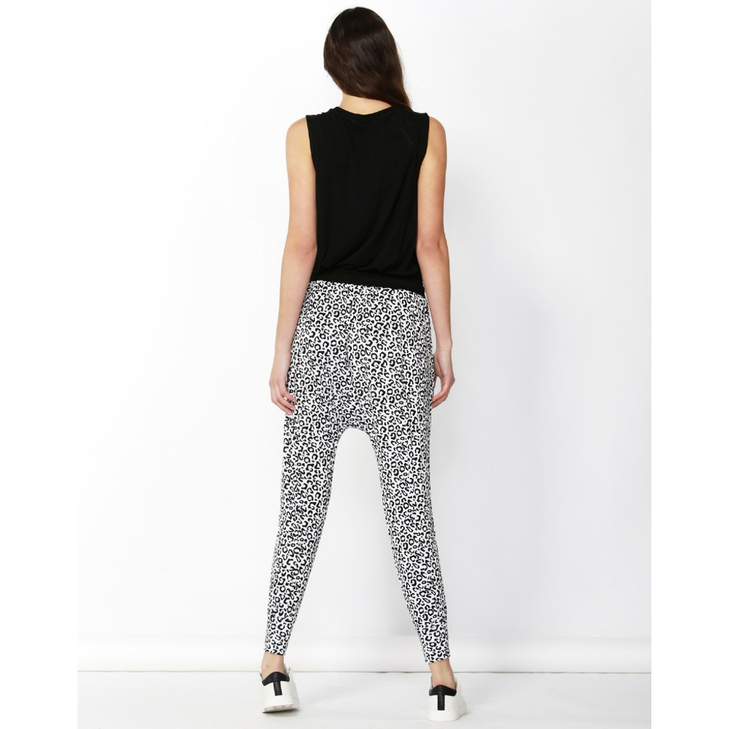 Women's Pants   Barcelona Pant in White Leopard Print   BETTY BASICS