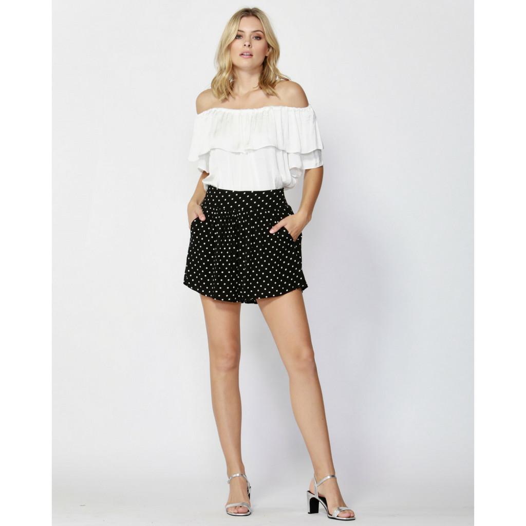 Women's Shorts Australia | Paris Nights Shirred Shorts in Black/White Dots | FATE + BECKER