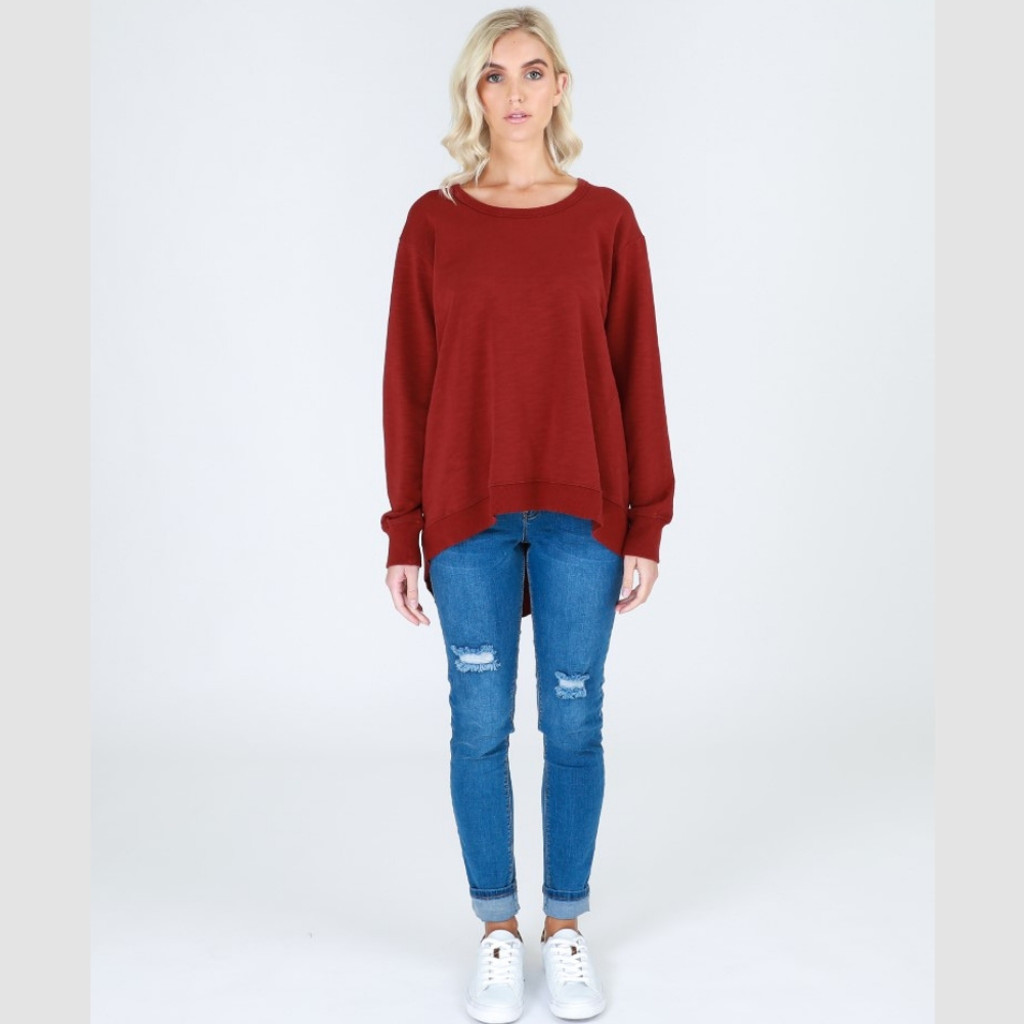 Women's Tops | Newhaven Sweater in Burgundy | 3rd Story