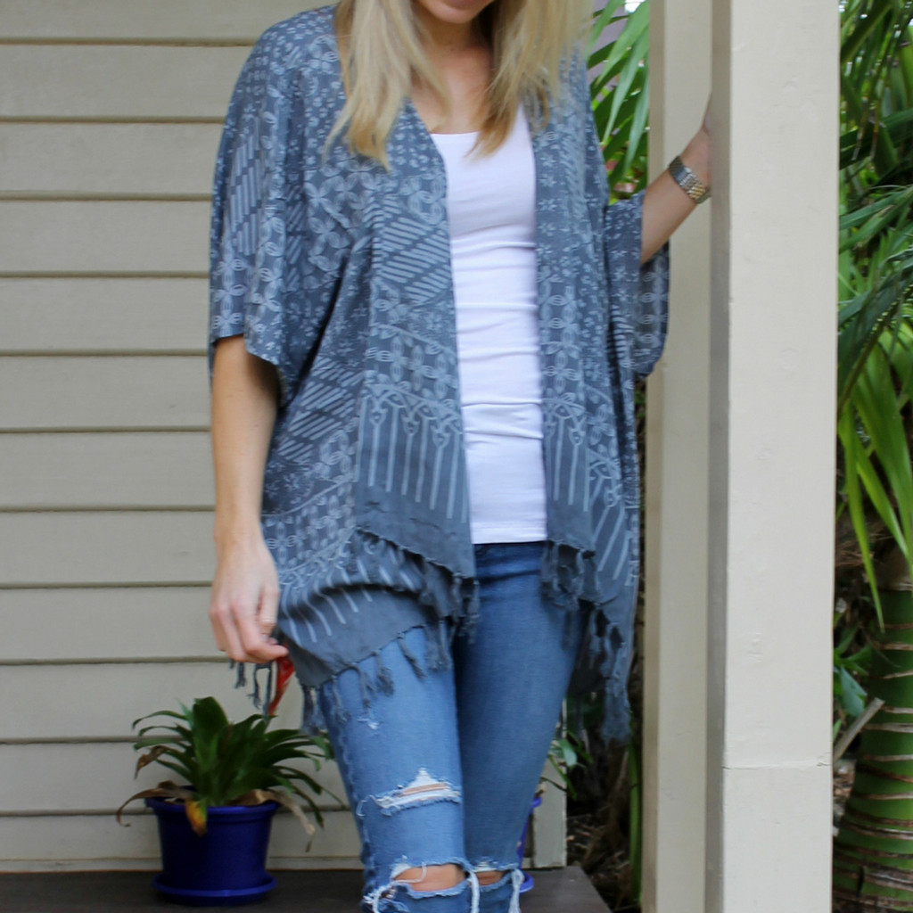 Online Jackets For Women | Classic Kimono in Midi Graphite | BIJOU