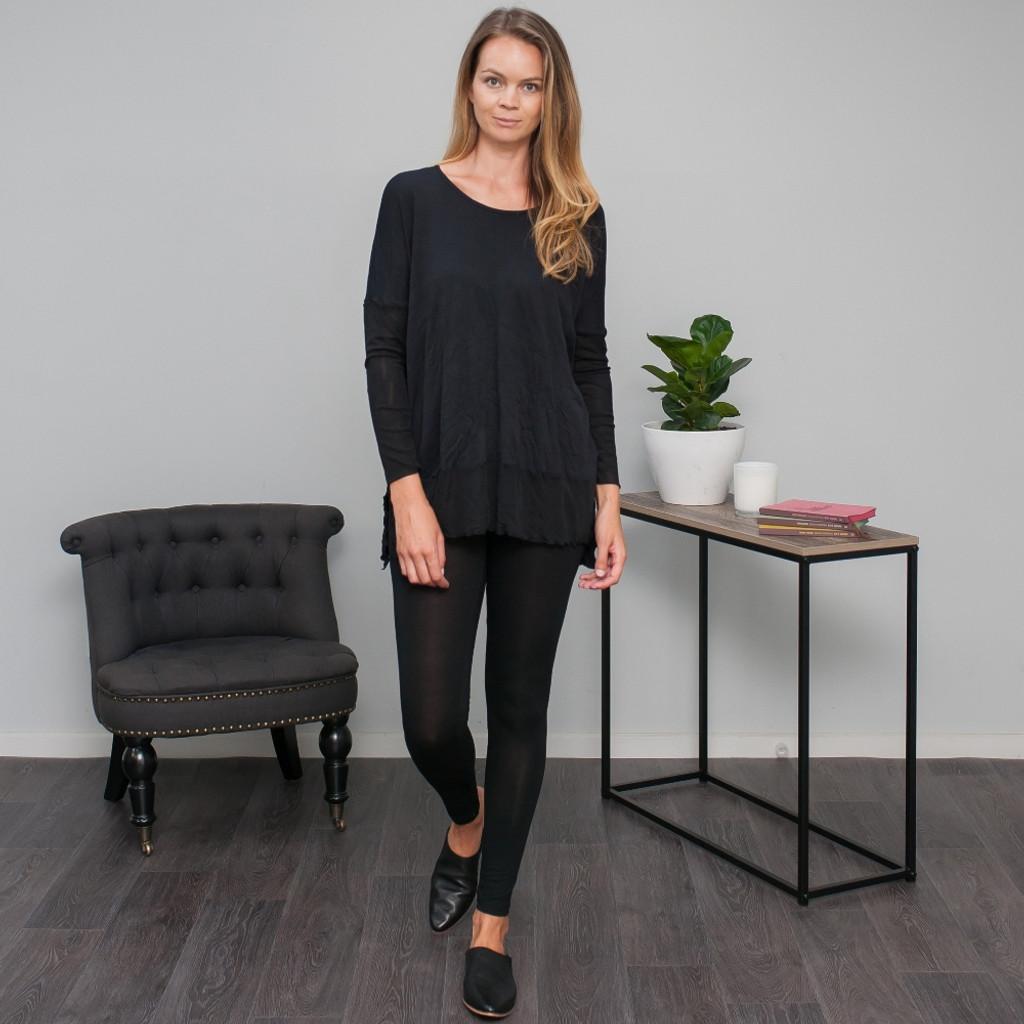 Women's Tops | Throw Over Hooded Tunic in Black | VIGORELLA