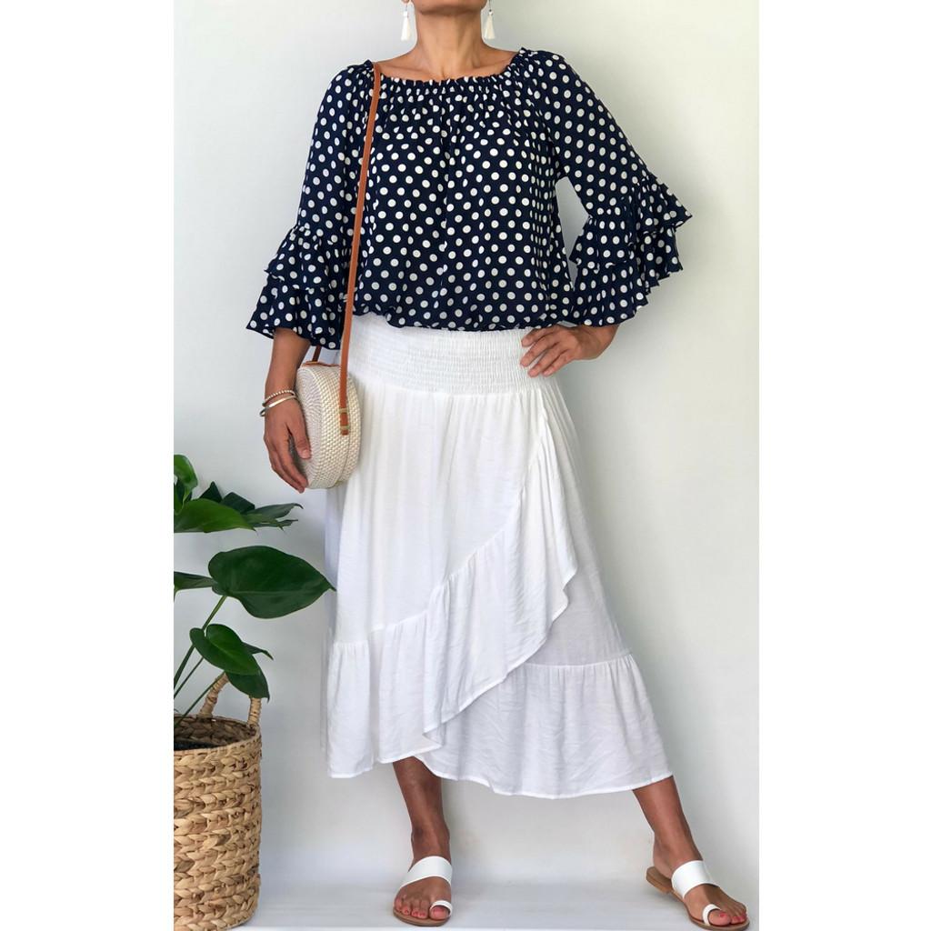 Havana Midi Skirt in White by NOOSA SOL*