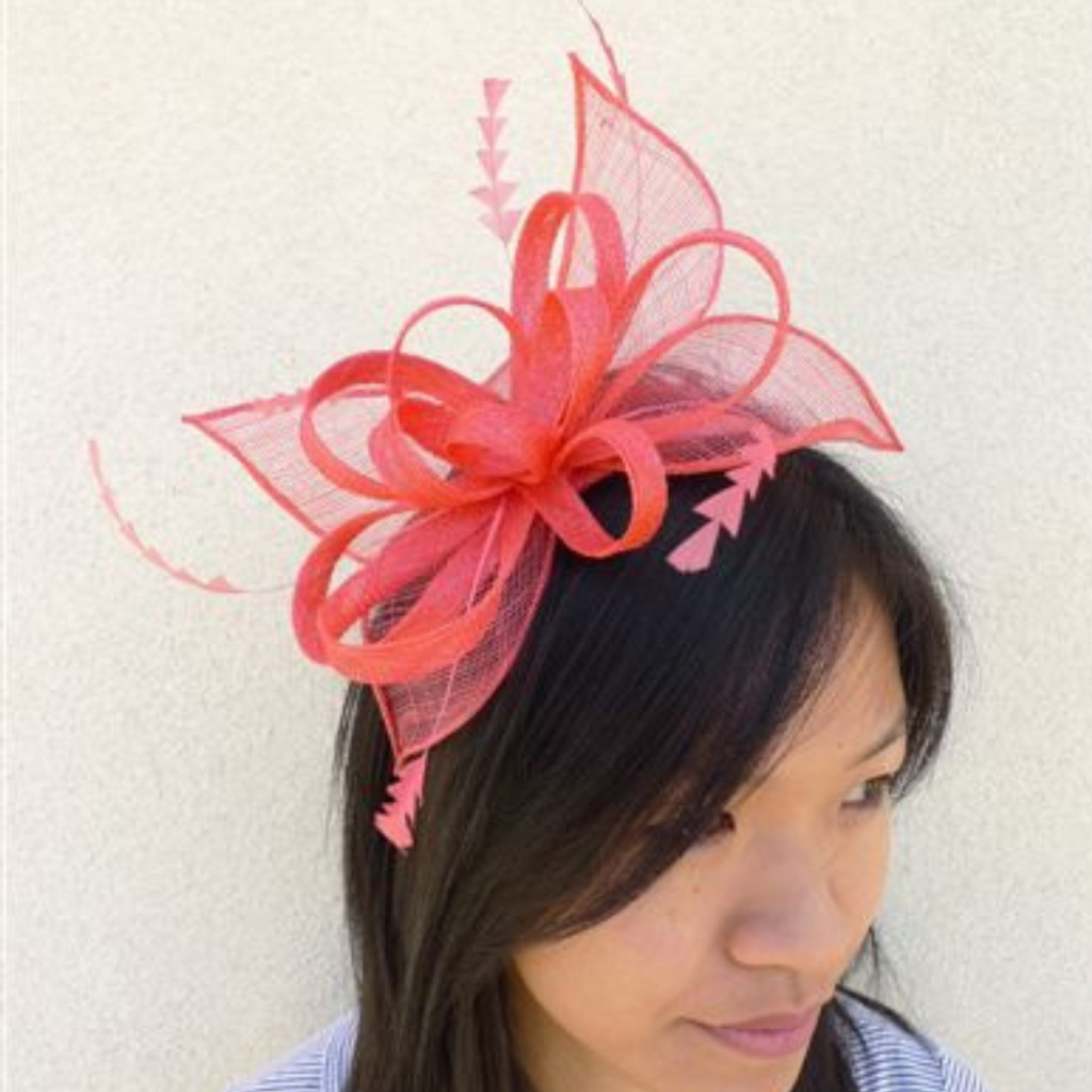 Women's Fascinators | Small Head Band Fascinator Coral FH2159 | FAB
