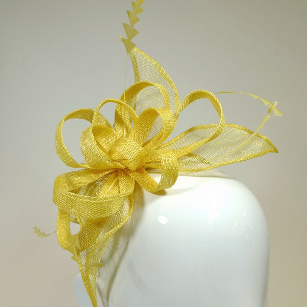 Women's Fascinators | Small Head Band Fascinator Yellow FH2159 | FAB