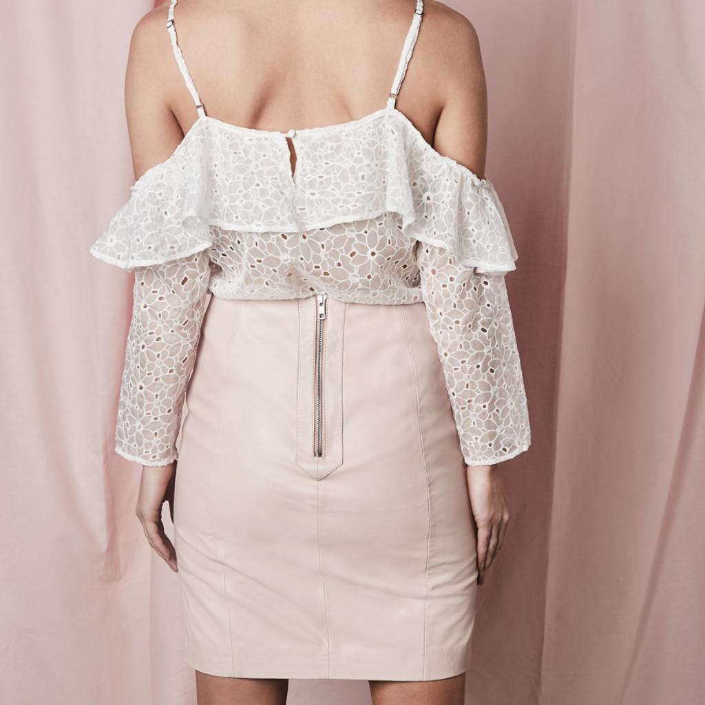 Women's Skirts | Tara Nude Leather Skirt | SAINT ROSE